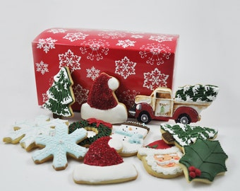 Assortment Christmas Cookies - 1 Dozen - holidays - christmas tree - santa - frosty - snowman - snowflake - Decorated iced sugar cookies