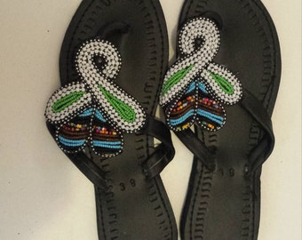 African Handmade Beaded Leather Sandals