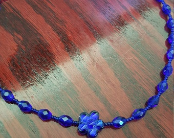 blue glass crystal necklace