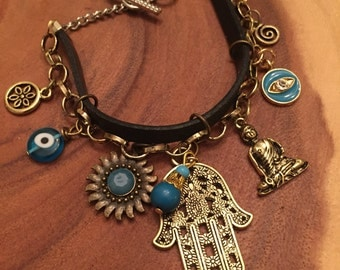 Hamsa with turquoise and evil eye