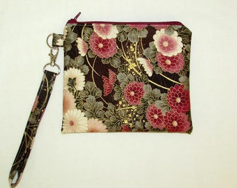 Evening bag with strap, everyday wristlet made from upcycled fabric