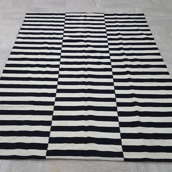 Black and white beige striped rug handmade striped kilim rug - Black white striped carpet ...