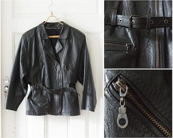 Vintage Black Leather Jacket 70s Leather Jacket Womens Medium Leather Jacket Mens Small Leather Jacket Genuine Leather Jacket With Belt S M