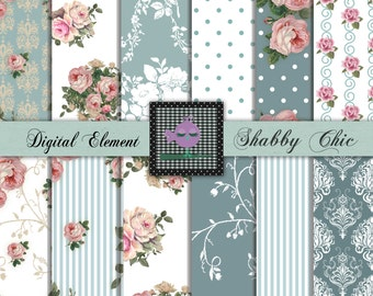 Digital Scrapbook Paper, Digital Paper, Pink Shabby Rose Papers, Digital Background Paper, Teal and Pink Shabby Rose Paper. P95.DA