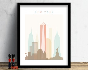 New York Skyline, Print, Watercolor Print, NYC Wall Art, Watercolor Art, City Poster, Cityscape, Home Decor, Christmas Gift PRINT