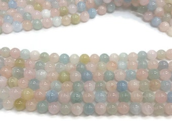 8MM Morganite Multi Round Beads, AAA Quality Beads , Perfect making in wholesale price