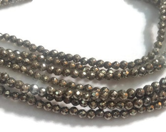 """Pyrite Round faceted 3mm , Length of strand in 16"""" Natural Pyrite stone"""