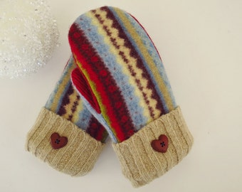 Kid's Felted wool upcycled wool sweater mittens, size XS, lined with Polartec fleece