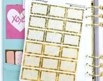 Half Box Planner Stickers | Back to Basics -SQ Gold