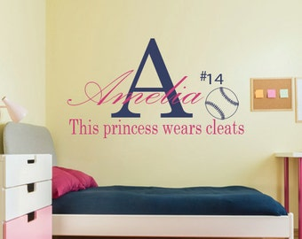 Personalized Girls Softball Wall Decal,This princess wears cleats,Softball Decal,Softball Wall Decal,Softball vinyl decal,Vinyl wall Decal
