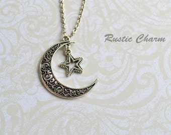 Moon and Star Antiqued Silver Pendant Necklace