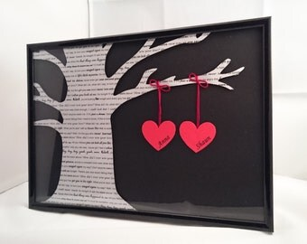 Personalised Lyrics Tree A4 Black Frame | First Dance | Anniversary | Wedding | Song Lyrics | 3D lyrics with Shadow | Favourite Song Tree