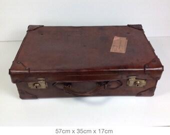 FREE UK POSTAGE* A vintage large leather suitcase