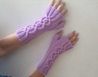 Free shipping long fingerless gloves mitts soft merino lavender celtic cables larp elegant