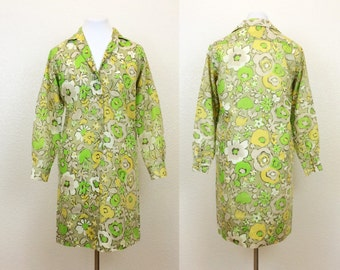 SUMMER OF LOVE - 70s Green Floral Shirt Dress - Cotton/Poly Shirt Dress - 70s Dress - 70s Shift - Green Dress - Floral Dress - Medium