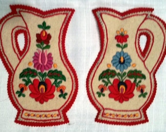 Trivets, Hot Pads, Vintage 1950's Matyo style Hungarian Embroidery, Pair Embroidered Trivets