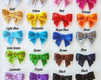 20 Assorted Sequin Bow Appliques, Small Glitter Bows, Baby Headband Bows, DIY Supply Bows, You Choose the Colors
