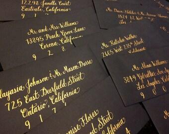 Wedding envelope calligraphy - Envelope Calligraphy - Event Calligraphy - Gold Calligraphy