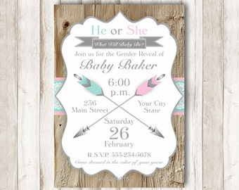 Gender Reveal Invitation Printable Gender Reveal Party