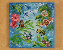 Painting  Colorful Children Butterfly Childrens art Blye Ideas Art Gift for girls OOAK Gift for children Nursery decor Art deco Canvas Gift
