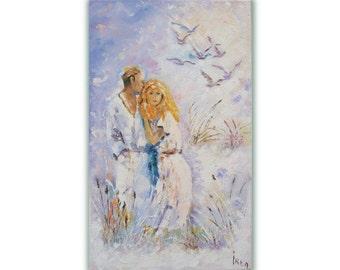 Valentine day gift Love art Love décor Lovers art Original art painting Wedding gift picture Engagement gift Love painting Romantic painting
