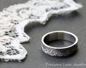 Classic Ring with Lace Texture, Anniversary Ring, Wedding Ring, Wedding Band, Silver Lace Ring, Unique Silver Ring, Textured Silver Ring