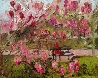 A magnolia in bloom, nature painting, original painting, oil on canvas, painting on the ground, paint outdoors