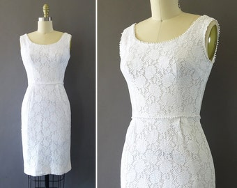 50s Summer Light Dress- 1950s Vintage Dress - White Lace Wiggle Dress w Flowers and Little Pompoms - Floral Sleeveless White Hourglass Dress