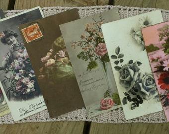 Pack of 6 cards postcards vintage