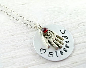 Massage Therapist Gift~ Chiropractor~  Nurse Necklace~ Healing Hands handstamped Necklace~ Nurse Gift~ Physical Therapist Gift