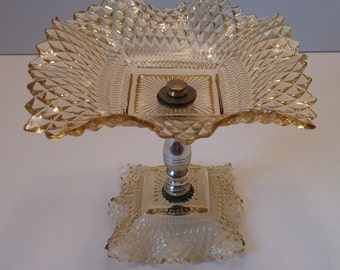 Indiana Glass Amber Diamond Point Tidbit Tray