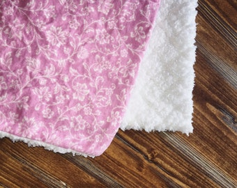 Light Pink Flower Baby Blanket With White Back
