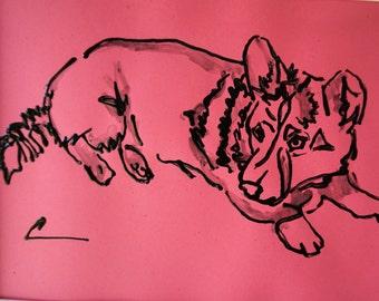 Pink Corgi artwork,Girl's room corgi art,Corgi dog art,8.5x11 corgi painting,Corgi dog watercolor,Corgi drawing,Corgi illustration,Corgi art