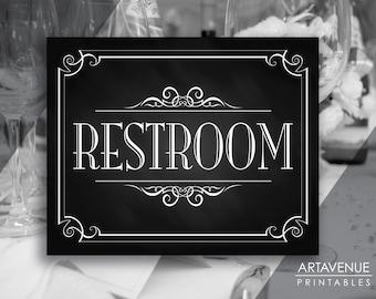 """Wedding Printable Art Vintage Decor Sign - """"RESTROOM"""" Sign - Chalkboard Wedding digital file - VC1"""