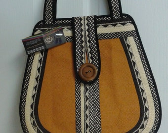 Camel, black and cream large woven bag