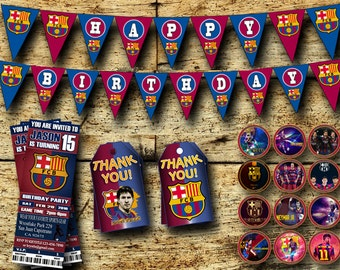 Fc Barcelona Birthday Party Pack-Personalized Printable Digital  Birthday Party Pack-Fc Barcelona  Birthday Ideas