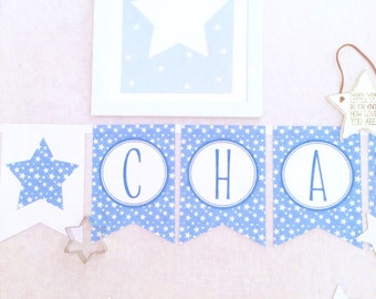 Handmade Blue Star Personalised Baby Shower/New Baby Name Bunting/Banner
