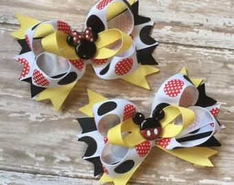 Mickey and Minnie Hair Bow Set