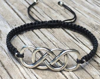 Double Infinity Bracelet, Double Infinity Anklet, Adjustable Macrame Friendship Bracelet, Infinity Bracelet, Infinity Jewelry, Small Gift