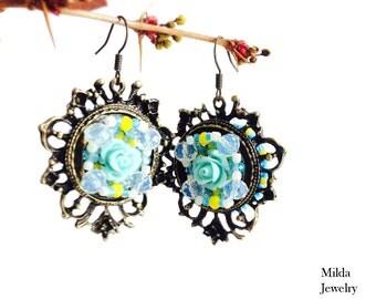 Vintage bronze style earrings, crystal glass beaded earrings, chandelier