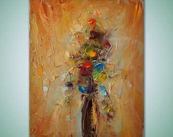 Oil Painting, Flower Art, Abstract Canvas Painting, Canvas Wall Art, Original Painting, Modern Art, Abstract Art, Palette Knife Oil Painting