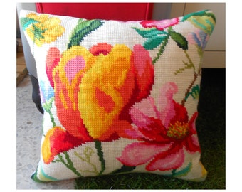 Flower Pillow, Decorative Pillow, Custom pillow cover, Embroidered Pillow, Cross Stitch Pillow Cover