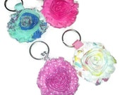 Shabby flower keychain, flower key holder, choose your color, girly keychain, roomantic keychain, party favor, gift idea