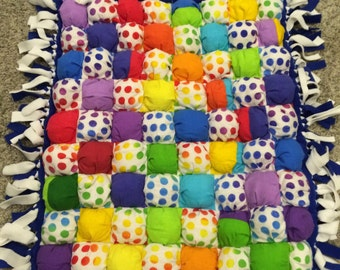 Flannel and fleece bubble/puff quilt blanket