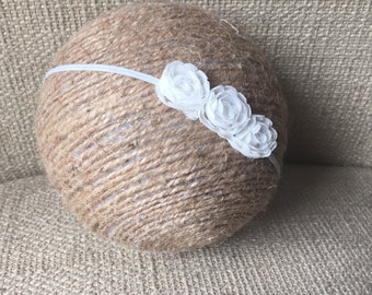 Simple White Flower Headband, Skinny White Headband, White Newborn Headband, White Christening Headband, Baptism Headband