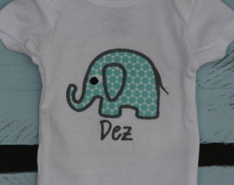 Personalized Baby Elephant applique onesie