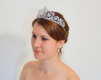 Bridal Tiara, Crystal Bridal Crown, Crystal Wedding Tiara, Princess Tiara, Rhinestone Bridal Tiara, Silver Bridal Tiara, Wedding Tiara