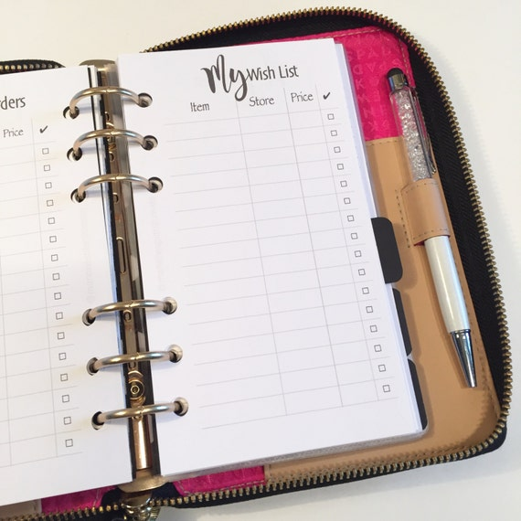 My Wish List - Printed Planner Inserts