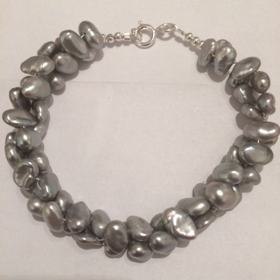 Silver Keshi Pearl and Sterling Silver bracelet