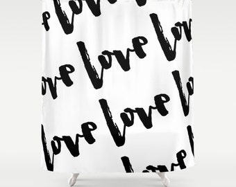 Shower Curtain, Love, Black and White Shower Curtain, Love Decor, Modern Shower Curtain, Fabric Shower Curtain, Standard or Extra Long